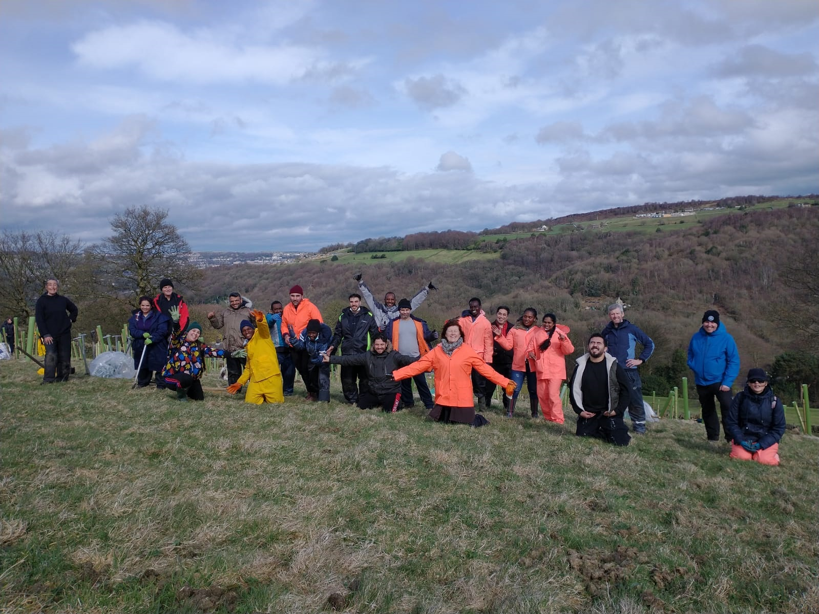 Group of people on a hill planting trees