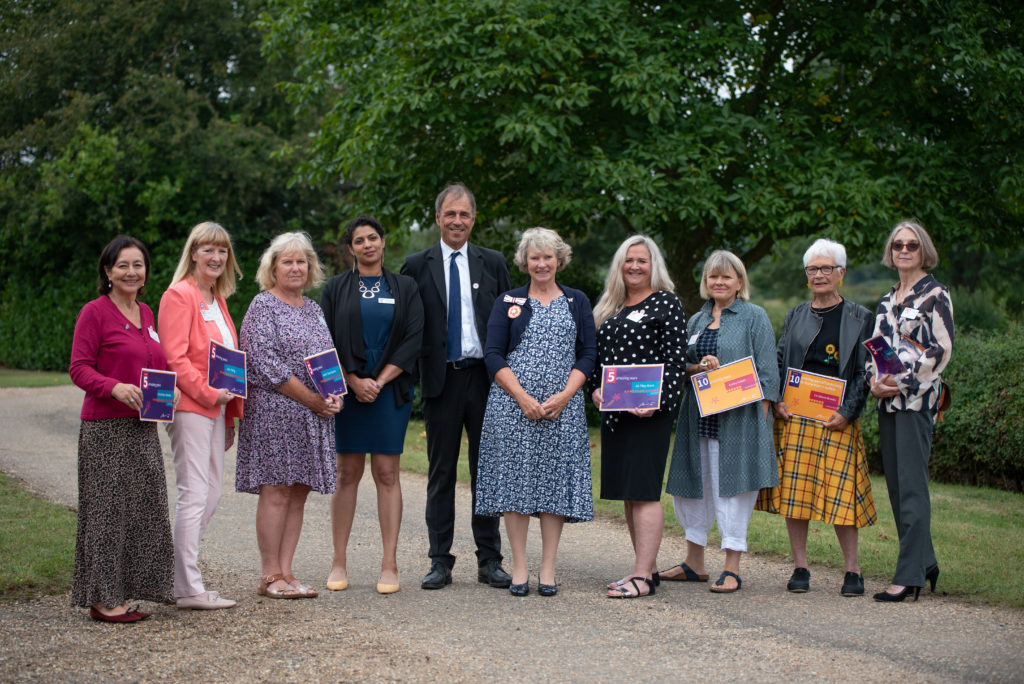 Anthony Horowitz MBE, presented the long service awards to volunteers from Home-Start in Suffolk.  Picture: Sarah Lucy Brown